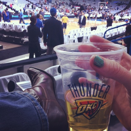 Instagram lets me take these little slices of life - like beer, boots and basketball. My son didn't want a picture, but he's sitting next to me. A fun evening, even though we lost.