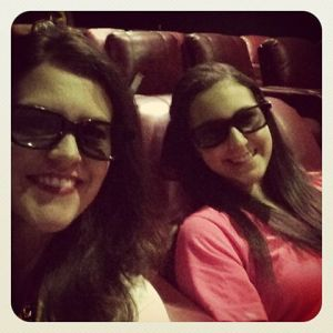 Wearing our 3D glasses (only way to see GRAVITY besides IMAX) - with my daughter.