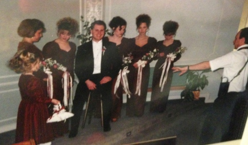 Bridesmaids around bridegroom pic. w/Brian McGarry, 1995