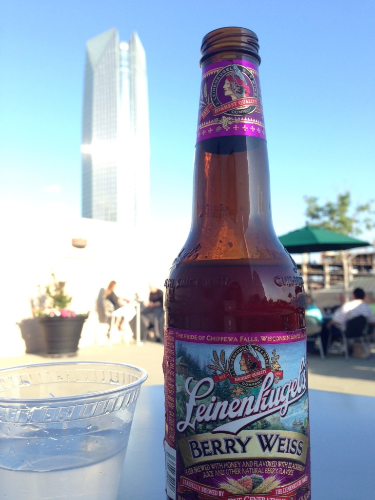 Beer with a view. (Devon Tower as seen from OKC MOA roof)