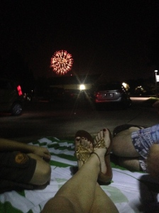 Fireworks from our view on the blanket. Edmond, OK has one of the best fireworks shows in the country. Gorgeous.