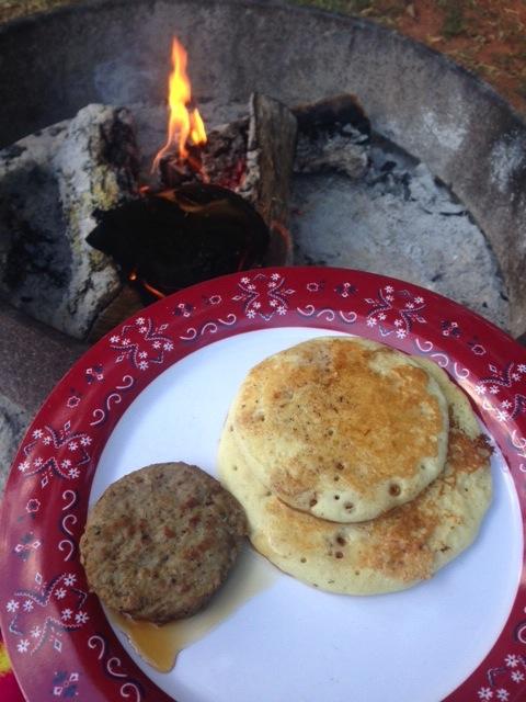 My girlfriends make a killer campfire breakfast.